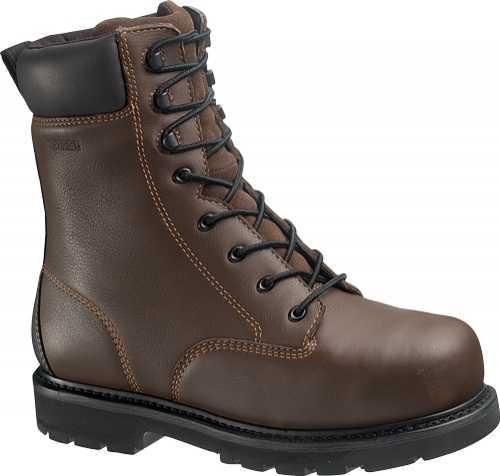 HYTEST 14671 Men's Brown Slip Resistant EH Steel Toe Internal Met Gard 8 Inch Work Boot