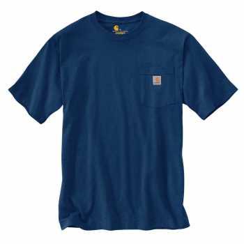 Carhartt Dark Cobalt Blue Heather Short Sleeve Workwear Pocket T-Shirt for Men