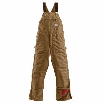 Carhartt Brown Duck Zip-To-Thigh Quilt Lined Bib Overall (Plus Sizes)