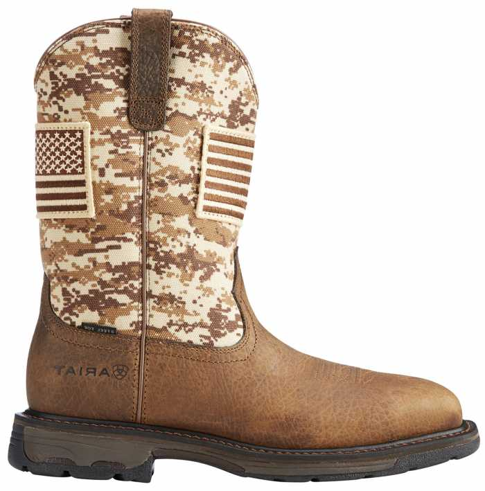 Ariat AR10022968 WorkHog Patriot, Men's, Earth/Camo, Steel Toe, EH, Pull On Boot