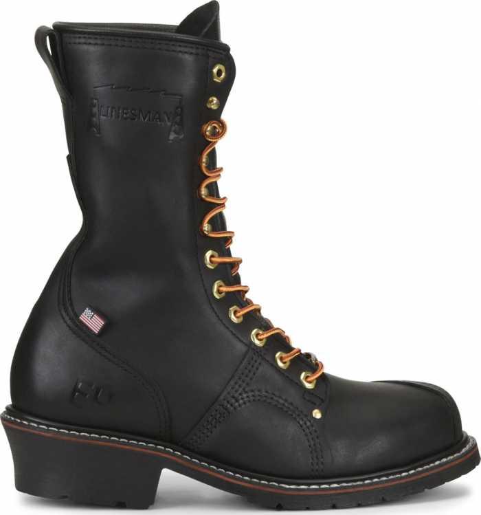 Carolina CA1905 Black USA Made, Steel Toe, Electrical Hazard, Men's 10 Inch Linesman Boot
