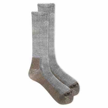 Carhartt Heather Gray Full Cushion Steel Toe Synthetic Work Boot Sock 2-Pack for Men