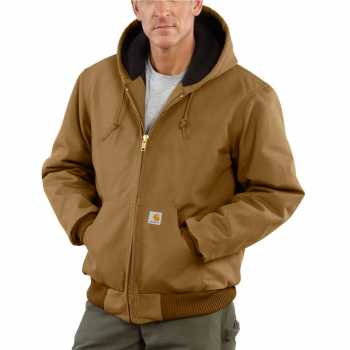 Carhartt Brown Quilt Flannel Lined Duck Active Jacket for Men (Plus Sizes)