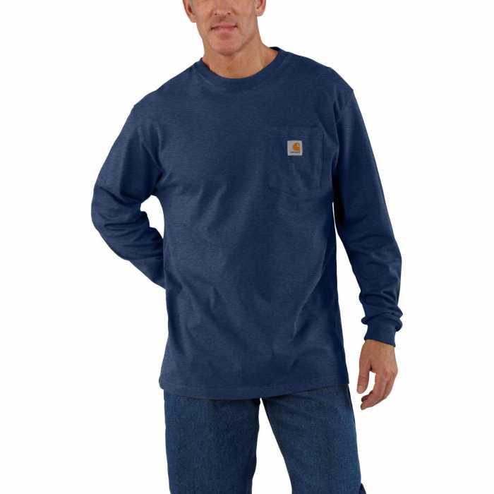 Carhartt Navy Long Sleeve Workwear Pocket T-Shirt for Men