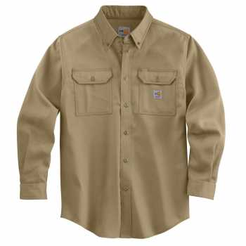 Carhartt Khaki Flame-Resistant Lightweight Twill Shirt for Men