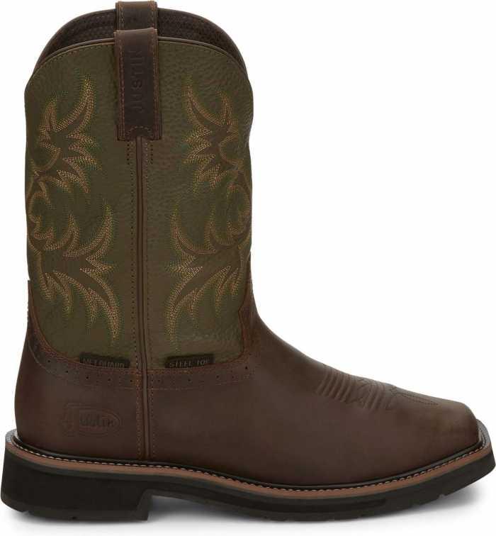 Justin JUSE4570 Keavan, Men's, Brown, Steel Toe, EH, Mt, WP, 11 Inch Boot