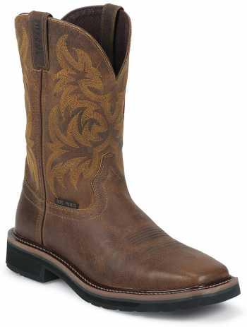 Justin Boot JUWK4824 Handler, Men's, Brown, Comp Toe, EH, Pull On Boot