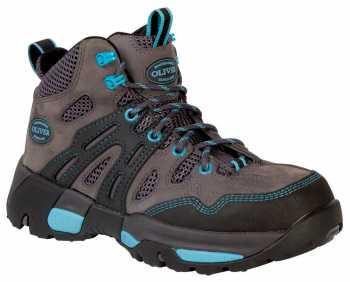 Oliver OL21112 Women's Black/Grey/Bright Blue, Steel Toe, Waterproof, EH, Hiker
