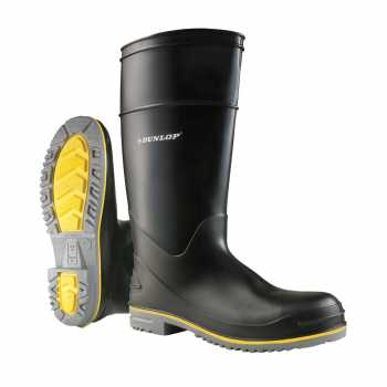 Dunlop 89908 Men's Black 16 Inch Waterproof, Polyblend PVC, Steel Toe, Pull On Boot