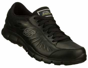 SKECHERS Work SK76551BLK Women's Relaxed Fit:Eldred Black, Soft Toe, Slip Resistant Athletic