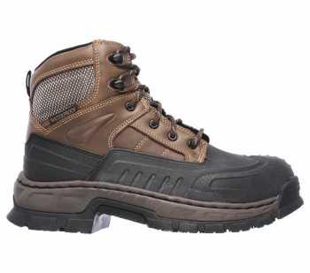 SKECHERS Work SK77087BRN Men's Brown, Steel Toe, EH, Waterproof, Molded Foot Boot