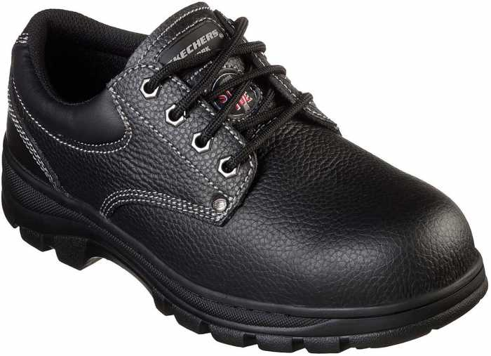 SKECHERS Work SK77164BLK Workshire-Tydfil, Men's, Black, Steel Toe, EH, PR Oxford