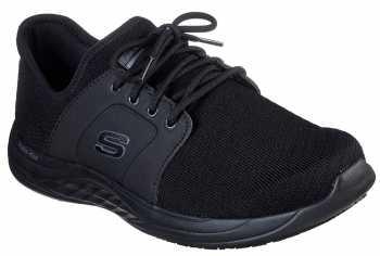 SKECHERS Work SK77511BLK Toston, Men's, Black, Soft Toe, Slip Resistant Oxford