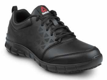 Reebok Work SRB3203 Sublite Cushion Work, Black, Men's, Athletic Style Slip Resistant Soft Toe Work Shoe