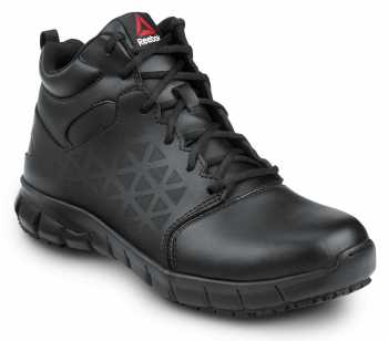 Reebok Work SRB3204 Sublite Cushion Work, Black, Men's, Mid-Athletic Style Slip Resistant Soft Toe Work Shoe