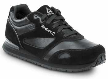 Reebok Work SRB972 Prelaris, Black/Grey, Women's, Jogger Style Slip Resistant Soft Toe Work Shoe