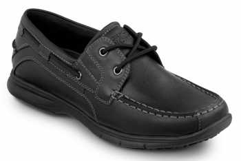 Rockport Works SRK222 Women's Hampton Black, Boat Shoe Style Slip Resistant Soft Toe Work Shoe