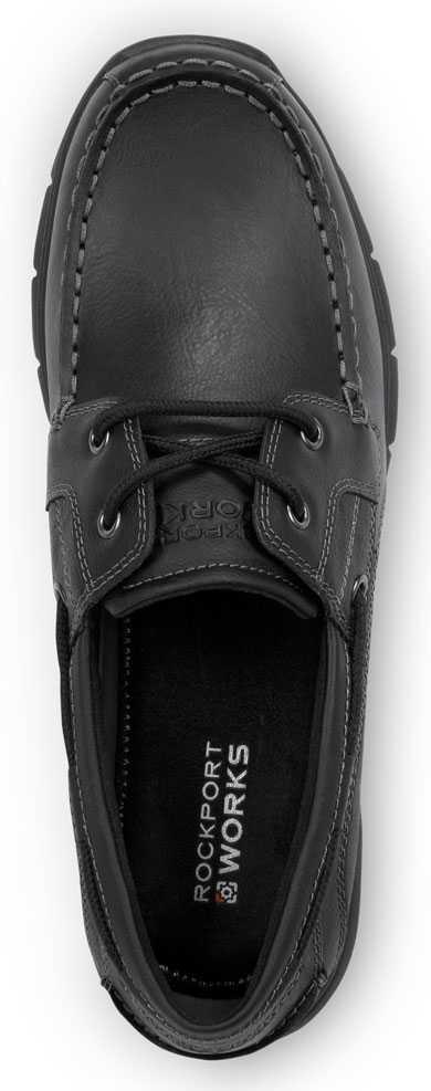 Rockport Works SRK222 Women's Hampton Black, Boat Shoe Style Slip Resistant Soft Toe Work Shoe