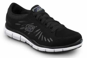 Skechers SSK405BKW Stacey Black/White, Soft Toe, Slip Resistant, Low Athletic
