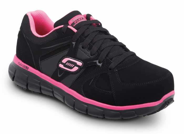 SKECHERS Work SSK406BKPK Jackie Women's Black Nubuck with Pink Trim Athletic Aluminum Alloy Electric Hazard Slip Resistant