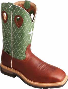 Twisted X TWMLCSM01 Men's, Cognac/Lime, Steel Toe, EH, Mt, 12 Inch, Pull On Boot