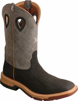 Twisted X TWMXBA002 Men's, Brown/Grey, Alloy Toe, EH, 12 Inch, Pull On Boot