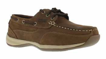 Rockport Works WGRK676 Brown Steel Toe, EH, Women's Sailing Club 3 Eye Boat Shoe